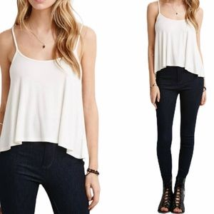 Forever 21 White Flowy Tank Top
